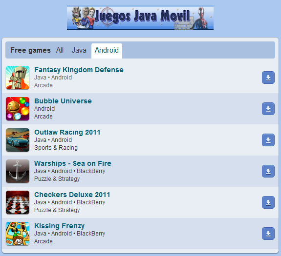 descarga juegos java, android y blackberry gratis